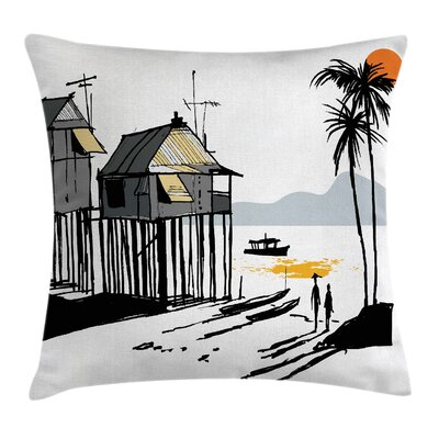 Coastal Fishing Village Malay Pillow Cover Size: 18 x 18