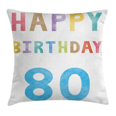 Colorful Old Retro Birthday Square Pillow Cover Size: 20