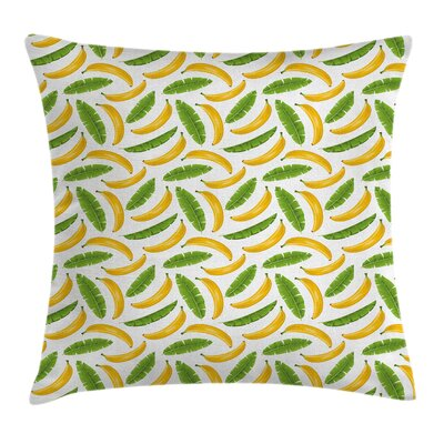 Kids Yummy Banana Fruit Icons Pillow Cover Size: 24 x 24