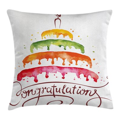 Cake Congratulations Square Pillow Cover Size: 18 x 18