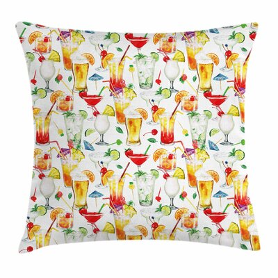 Tiki Bar Decor Tropic Cocktails Square Pillow Cover Size: 18 x 18