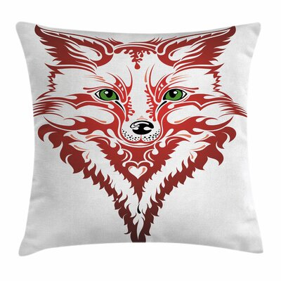 Fox Artistic Patterned Animal Square Pillow Cover Size: 18 x 18