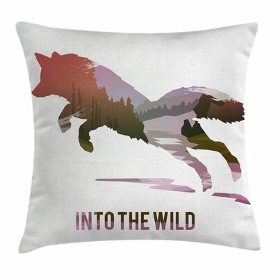 Fox Jumping Fox Wild Woodland Square Pillow Cover Size: 24 x 24