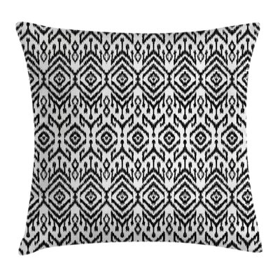 Bohemian Scribble Ikat Pattern Square Pillow Cover Size: 16 x 16
