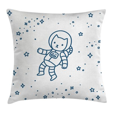 Kids Astronaut Cat Pillow Cover Size: 16 x 16