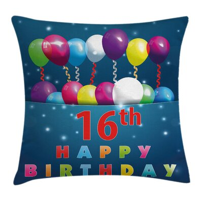 Sweet Sixteen Party Square Pillow Cover Size: 24 x 24