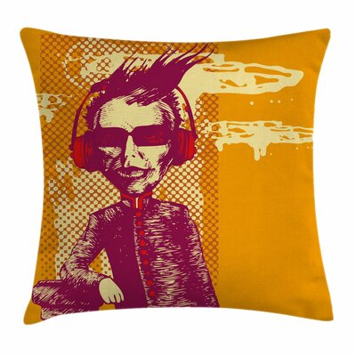 Music Grotesque Man Headphones Pillow Cover Size: 18