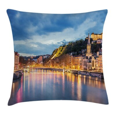 European Saone River Lyon City Pillow Cover Size: 18 x 18