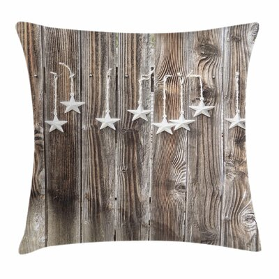 Primitive Country Silver Stars Square Pillow Cover Size: 18 x 18