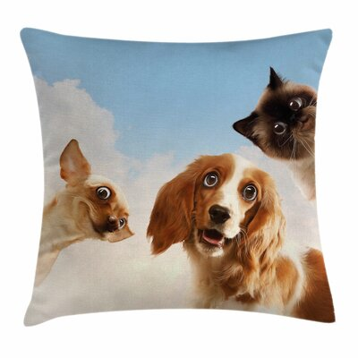 Funny Cats Dogs in Sky Clouds Square Pillow Cover Size: 24 x 24