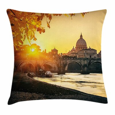 Fall Decor Sunset Tiber River Square Pillow Cover Size: 24 x 24