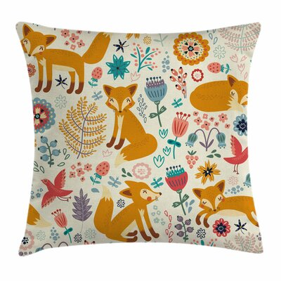 Fox Foxes Ornate Flowers Birds Square Pillow Cover Size: 16 x 16