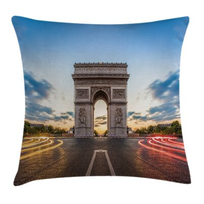Paris Famous Champs Elysees Pillow Cover Size: 24