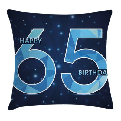 Modern Stylized Numbers Stars Square Pillow Cover Size: 16 x 16