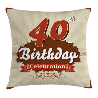 Retro Birthday Banner Dotted Pillow Cover Size: 24 x 24