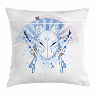 Kabuki Mask Fox Mask Kitsune Square Pillow Cover Size: 18 x 18