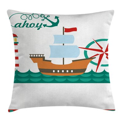 Nautical Sail Boat Ahoy Compass Square Pillow Cover Size: 24 x 24