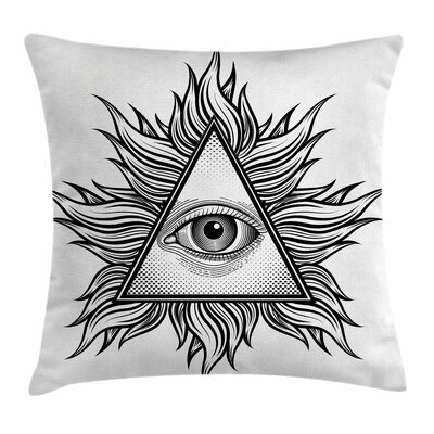 Eye Triangles Spiritual Tattoo Square Pillow Cover Size: 18 x 18