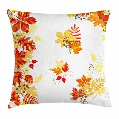 Fall Decor Leaves and Berries Square Pillow Cover Size: 16 x 16