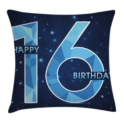 Greeting Joyful Age Sky Square Pillow Cover Size: 16 x 16