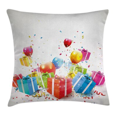 Birthday Surprise Boxes Balloon Square Pillow Cover Size: 24 x 24