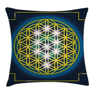 Abstract Flower of Life Spirals Pillow Cover Size: 18