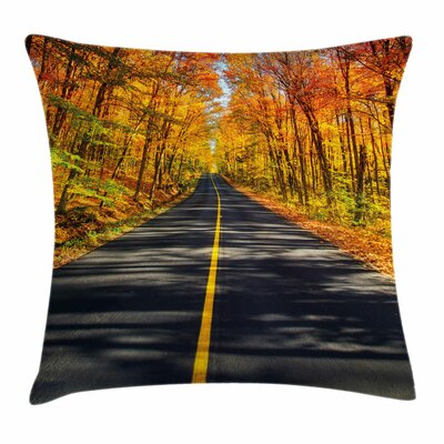 Fall Decor Rural Road Country Square Pillow Cover Size: 24 x 24