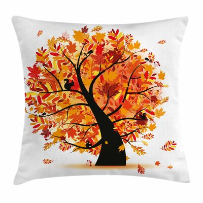 Fall Decor Cartoon Tree Artful Square Pillow Cover Size: 16 x 16