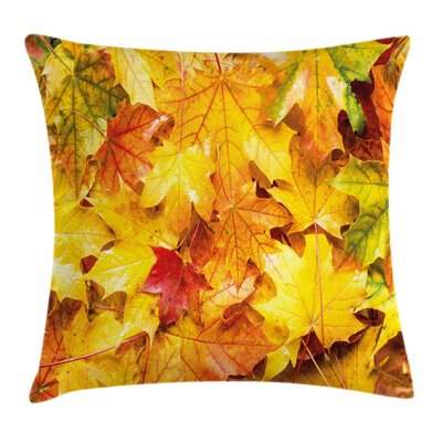Fall Decor Wet Maple Leaves Square Pillow Cover Size: 16 x 16