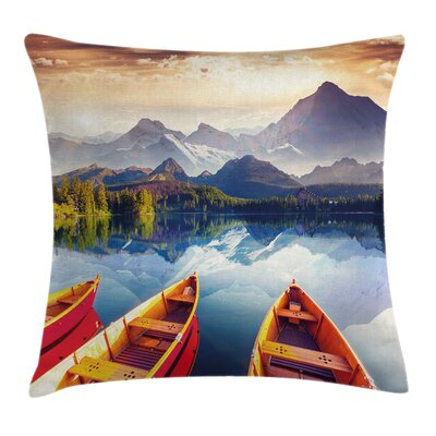 Coastal Mountains Shore Boats Pillow Cover Size: 16 x 16