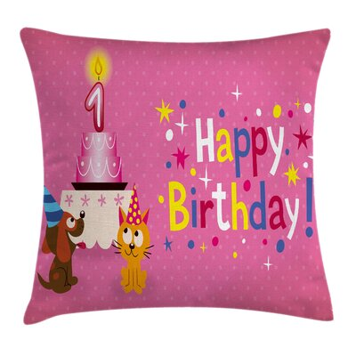 Colorful Animal Birthday Party Square Pillow Cover Size: 18 x 18