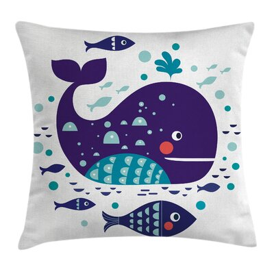 Whale Ocean Cartoon Big Fish Pillow Cover Size: 16 x 16