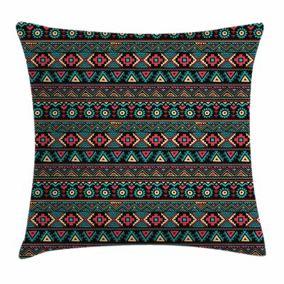 Vintage Eastern Ethnic Doodles Square Pillow Cover Size: 16 x 16