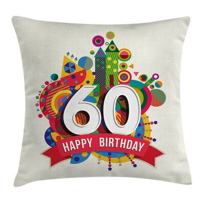 Geometric Birthday Castle Boat Square Pillow Cover Size: 24 x 24
