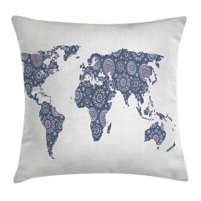 Indian Oriental Featured Map Pillow Cover Size: 18 x 18