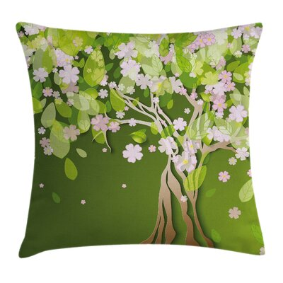 Tree Blossoming Petals Florets Pillow Cover Size: 24 x 24
