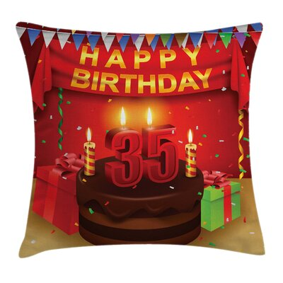 Festive 35th Birthday Party Square Pillow Cover Size: 20 x 20