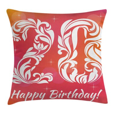 Party Sweet Twenty Birthday Square Pillow Cover Size: 16 x 16