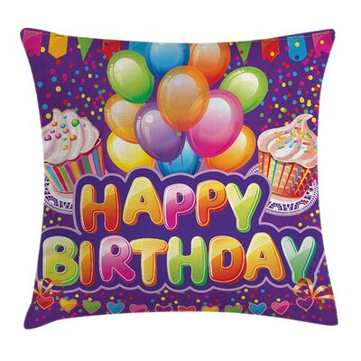 Cupcake Hearts Balloons Square Pillow Cover Size: 16 x 16