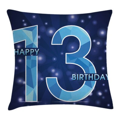 Thirteen Polygon Emblem Square Pillow Cover Size: 18