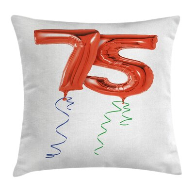 Birthday Number Balloons Ribbon Square Pillow Cover Size: 18 x 18