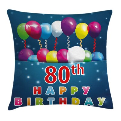 Colorful Happy Birthday Quote Square Pillow Cover Size: 16 x 16
