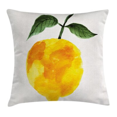 Watercolor Lemon Square Pillow Cover Size: 18 x 18