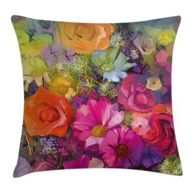 Floral Daisies Peony Gerbera Pillow Cover Size: 24 x 24