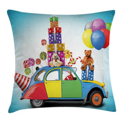 Funny Car Hat Toys Lollipops Square Pillow Cover Size: 16 x 16