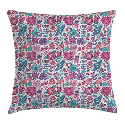 Garden Decor Doodle Flowers Pillow Cover Size: 24 x 24