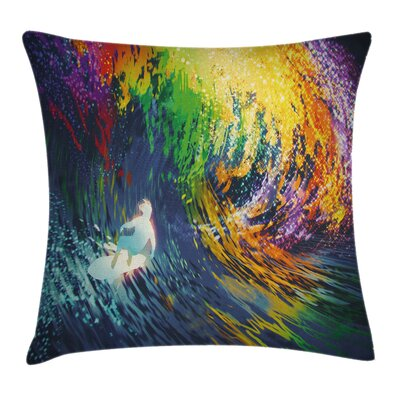 Ocean Exotic Surfer on Waves Pillow Cover Size: 16 x 16