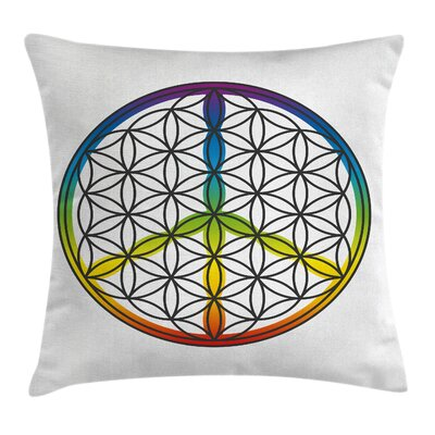 Hippie Life and Peace Symbol Pillow Cover Size: 16 x 16