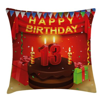 Festive Birthday Party Cake Square Pillow Cover Size: 18 x 18