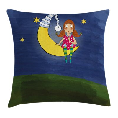 Kids Girl on Moon Quote Artwork Pillow Cover Size: 18 x 18